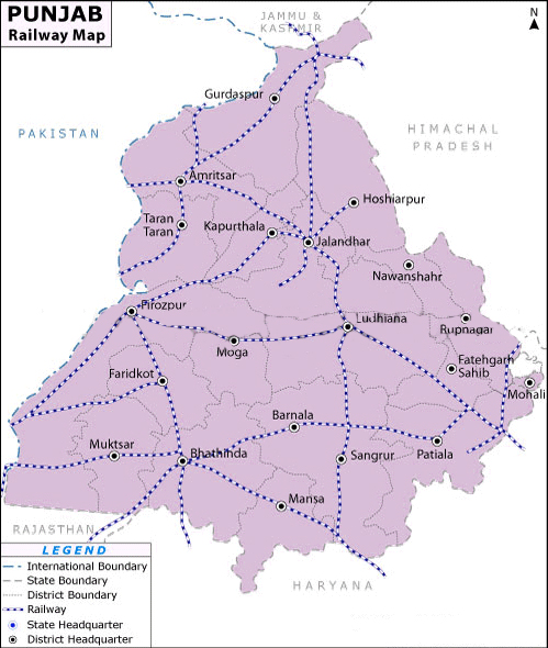 Railway Map of Punjab