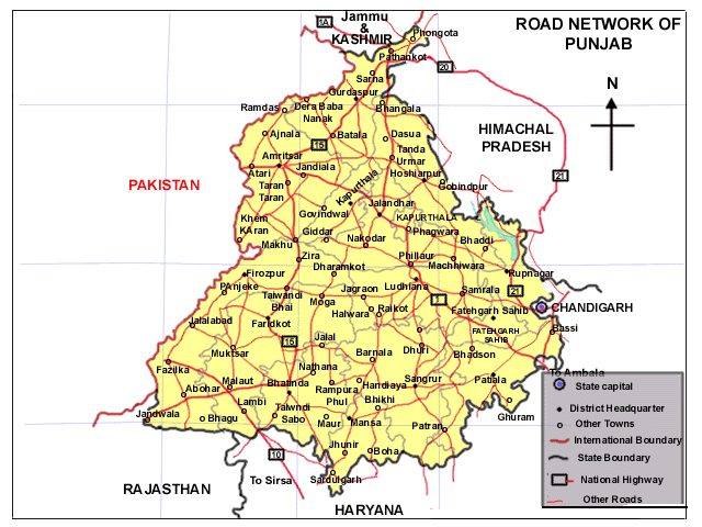 Road Map of Punjab